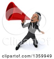 Clipart Of A 3d Arabian Business Man Announcing With A Megaphone On A White Background Royalty Free Illustration