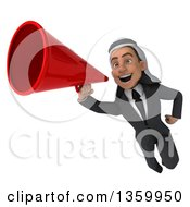 Clipart Of A 3d Arabian Business Man Flying And Announcing With A Megaphone On A White Background Royalty Free Illustration
