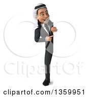 Clipart Of A 3d Full Length Arabian Business Man Pointing Around A Sign On A White Background Royalty Free Illustration