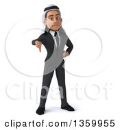 Clipart Of A 3d Arabian Business Man Giving A Thumb Down On A White Background Royalty Free Illustration