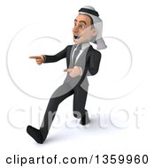 Clipart Of A 3d Arabian Business Man Speed Walking And Pointing On A White Background Royalty Free Illustration