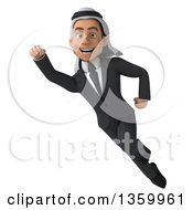 Clipart Of A 3d Arabian Business Man Flying On A White Background Royalty Free Illustration