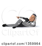 Clipart Of A 3d Arabian Business Man Resting On His Side And Pointing On A White Background Royalty Free Illustration