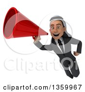 Clipart Of A 3d Arabian Business Man Using A Megaphone And Flying On A White Background Royalty Free Illustration