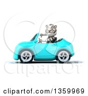 Clipart Of A 3d White Tiger Giving A Thumb Down And Driving A Light Blue Convertible Car On A White Background Royalty Free Illustration