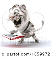 Clipart Of A 3d White Tiger Roaring And Reading A Book On A White Background Royalty Free Illustration