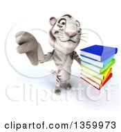 Clipart Of A 3d White Tiger Holding Up A Thumb Down And A Stack Of Books On A White Background Royalty Free Illustration