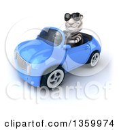 Clipart Of A 3d White Tiger Wearing Sunglasses And Driving A Blue Convertible Car On A White Background Royalty Free Illustration