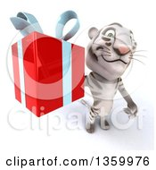 Clipart Of A 3d White Tiger Holding Up A Gift On A White Background Royalty Free Illustration