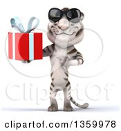 Clipart Of A 3d White Tiger Wearing Sunglasses Holding And Pointing To A Gift On A White Background Royalty Free Illustration