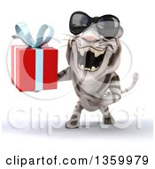 Clipart Of A 3d White Tiger Wearing Sunglasses Roaring And Holding A Gift On A White Background Royalty Free Illustration
