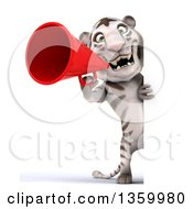 Clipart Of A 3d Full Length White Tiger Using A Megaphone Around A Sign On A White Background Royalty Free Illustration