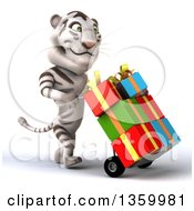 Clipart Of A 3d White Tiger Moving Gifts On A Dolly On A White Background Royalty Free Illustration