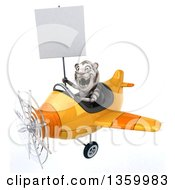 Clipart Of A 3d White Tiger Aviator Pilot Holding A Blank Sign And Flying A Yellow Airplane On A White Background Royalty Free Illustration