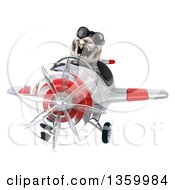 Clipart Of A 3d White Tiger Aviator Pilot Wearing Sunglasses And Flying A White And Red Airplane On A White Background Royalty Free Illustration