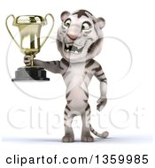 Clipart Of A 3d White Tiger Holding A Trophy On A White Background Royalty Free Illustration