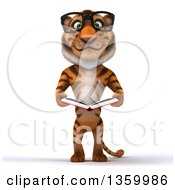 Clipart Of A 3d Bespectacled Tiger Holding An Open Book On A White Background Royalty Free Illustration