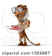 Clipart Of A 3d Bespectacled Tiger Reading A Book On A White Background Royalty Free Illustration