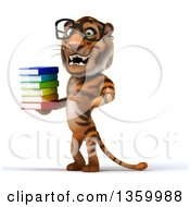 Clipart Of A 3d Bespectacled Tiger Holding And Pointing To A Stack Of Books On A White Background Royalty Free Illustration