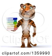 Clipart Of A 3d Tiger Holding A Stack Of Books On A White Background Royalty Free Illustration by Julos