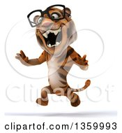 Clipart Of A 3d Bespectacled Tiger Running On A White Background Royalty Free Illustration