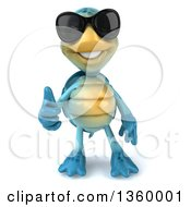 Clipart Of A 3d Blue Tortoise Wearing Sunglasses And Giving A Thumb Up On A White Background Royalty Free Illustration