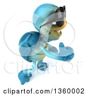 Clipart Of A 3d Blue Tortoise Wearing Sunglasses And Holding Up A Thumb On A White Background Royalty Free Illustration