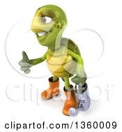 3d Tortoise Turtle Gardener Holding A Watering Can And Giving A Thumb Up On A White Background