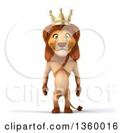 Clipart Of A 3d Male Lion King On A White Background Royalty Free Illustration