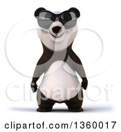 Clipart Of A 3d Panda Wearing Sunglasses On A White Background Royalty Free Illustration by Julos