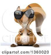 Clipart Of A 3d Squirrel Wearing Sunglasses On A White Background Royalty Free Illustration