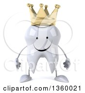 3d Happy Crowned Tooth Character On A White Background