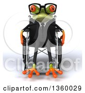 Clipart Of A 3d Bespectacled Green Business Springer Frog In A Wheelchair On A White Background Royalty Free Illustration by Julos