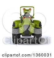 Clipart Of A 3d Green Business Frog Operating A Tractor On A White Background Royalty Free Illustration
