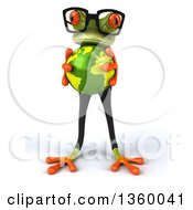 Clipart Of A 3d Bespectacled Green Business Springer Frog Holding Planet Earth On A White Background Royalty Free Illustration