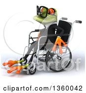 Clipart Of A 3d Bespectacled Green Business Springer Frog In A Wheelchair On A White Background Royalty Free Illustration