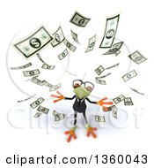 Clipart Of A 3d Bespectacled Green Business Springer Frog With Raining Money On A White Background Royalty Free Illustration