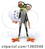 Clipart Of A 3d Bespectacled Green Business Springer Frog Holding A Euro Currency Symbol On A White Background Royalty Free Illustration