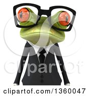 3d Bespectacled Green Business Springer Frog Avatar On A White Background