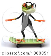 Clipart Of A 3d Bespectacled Green Business Springer Frog Skateboarding On A White Background Royalty Free Illustration