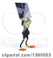 Clipart Of A 3d Bespectacled Green Business Springer Frog Holding Up A Solar Panel On A White Background Royalty Free Illustration