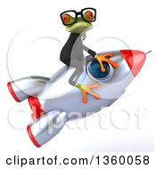 Clipart Of A 3d Bespectacled Green Business Springer Frog Riding A Rocket On A White Background Royalty Free Illustration