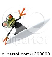Clipart Of A 3d Bespectacled Green Business Springer Frog Surfing On A White Background Royalty Free Illustration