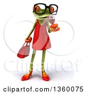 Clipart Of A 3d Bespectacled Green Female Springer Frog Sipping A Glass Of Red Wine On A White Background Royalty Free Illustration