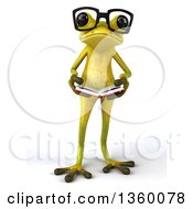 Clipart Of A 3d Bespectacled Light Green Frog Holding An Open Book On A White Background Royalty Free Illustration