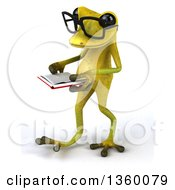 Clipart Of A 3d Bespectacled Light Green Frog Walking And Reading A Book On A White Background Royalty Free Illustration