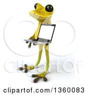 Clipart Of A 3d Light Green Frog Holding A Laptop Computer On A White Background Royalty Free Illustration