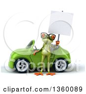 Clipart Of A 3d Bespectacled Green Springer Frog Holding A Blank Sign By A Green Convertible Car On A White Background Royalty Free Illustration