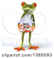 Clipart Of A 3d Green Springer Frog Holding A Silver House On A White Background Royalty Free Illustration
