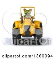 Clipart Of A 3d Green Frog Operating A Yellow Tractor On A White Background Royalty Free Illustration